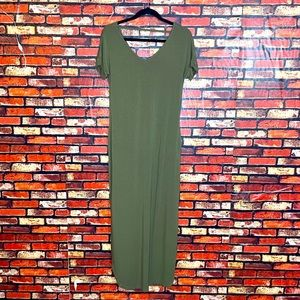 XS Long Green Dress with slit sides